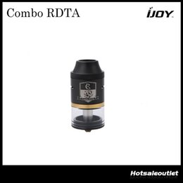 Wholesale Authentic iJoy COMBO RDTA Tank with ml e Juice Capacity Interchangeable Gold Plated Deck Atomizer Original DHL Free