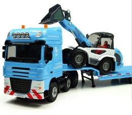 Wholesale Low Loader with Excavator Flatbed Trailer Bulldozer Engineering Truck Alloy Model Toy for Kids