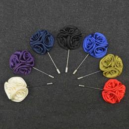 Wholesale 15 Brand New Wedding Groomsman Handmade Cloth Roses Brooch Temperament Badge Emblem Men s Lapel Flower GE07206