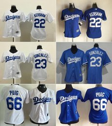 Wholesale MLB Dodgers jerseys Women s Baseball jerseys Los Angeles KERSHAW PUIG GONZALEZ white blue freeshipping