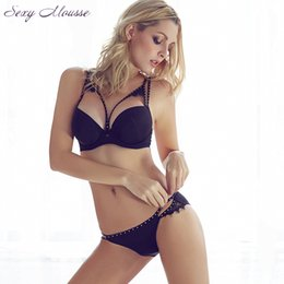 Wholesale Sexy Girl Intimates Back - 2016 Sexy Women Hot Seamless Rivets Bra Set Push up Vs Bra Brief Sets Girls Invisible Intimates Lingerie Underwear 3 4 Cup