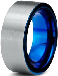 Wholesale mm tungsten Wedding Band Ring for Men Women Comfort Fit Blue flat Brushed Lifetime Guarantee