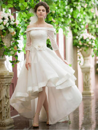 Fabulous A-Line Wedding Dresses Bateau Asymmetrical 3 4 Long Illusion Sleeve Lace and Organza Bridal Gowns
