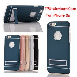 For iPhone 6 case TPU Bumper Aluminum Metal Case Cover For iPhone 6s Plus PC Holder Metal Back Case DHL SCA148