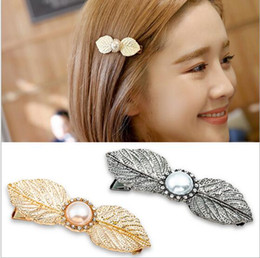 6.5cm hair jelwery women retro hair clip European Simple fashion pearl leaves hair clips hair barrettes rhinestone pearl leaves hairpin