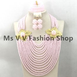 necklace set Nigerian Wedding Bridal Costume African Jewelry Set Crystal Beads Set 18k gold plated flowers