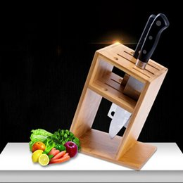 Wholesale Hot Selling Bamboo Kitchen Bar Knife Holder Multi purpose Knife Block Home Supplies Kitchen Tool Rest Shelf Knife Stand JC0180