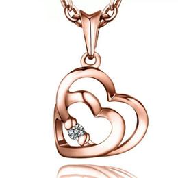 925 silver necklace items crystal jewelry double heart diamond pendant necklaces golden rose color vintage charms