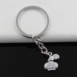 Wholesale Fashion diameter mm Key Ring Metal Key Chain Keychain Jewelry Antique Silver Plated perfume bottle mm Pendant