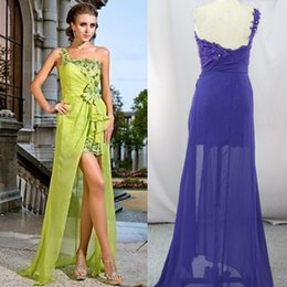 Wholesale Charming Fruit green Evening Dress Gown with Flower long front short back Formal Party Prom Dresses