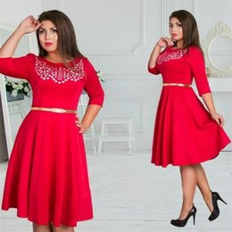 Cheap wholesale fashion dress MM fat seven polyester neck sleeve dress skirt 4 color 6XL
