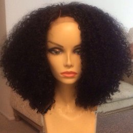 Short synthetic lace front wig glueless kanekalon heat resistant Afro kinky curly synthetic wigs with baby hair for black women