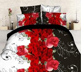 Wholesale Juego de cama D Set de cama de patrón de rosa Juego de cama de piezas Juego de edredón edredón edredón Funda de almohada