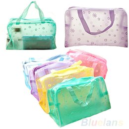 Wholesale New Women Bag Girl Floral Print Transparent Waterproof Toiletry Bathing Pouch PDF
