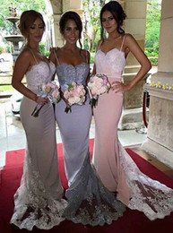 Gorgeous Spaghetti Mermaid Long Bridesmaid Dress with Train 2016 Bridesmaid Dresses Formal Evening Gowns Prom Party Dress