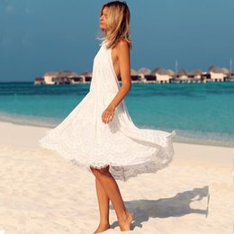 New Women White Lace Dress Halter Backless Beach Party Prom Dress Sexy Bikini Cover Up Dresses PDF0465