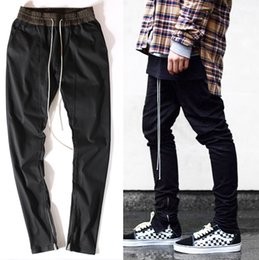 Wholesale-high quality men clothes famous slp ankle zipper justin bieber rockstar black distressed ripped skinny god jeans hip hop