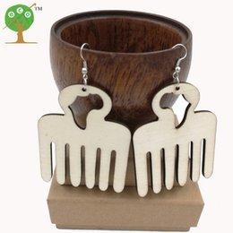 Wholesale 10 pairs african map comb earring unfinished natural ply wood AFRO pick unique big huge punk earring ER766