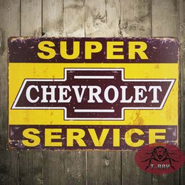 Wholesale Metal crafts quot Super Service quot Metal Tin Sign Rustic Wall Plaque Garage Gas Oil Bar Dinner