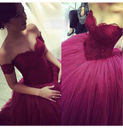 2016 Puffy Ball Gowns Prom Dresses Burgundy Tulle Long Evening Women Party Gowns Formao Dress
