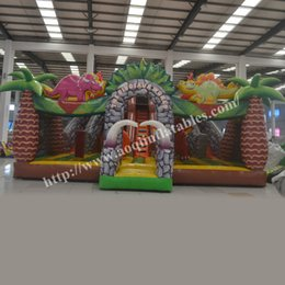 AOQI amusement park equipment the dinosaur world fun city colorful inflatable fun city with bouncy house for kids