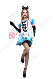 Wholesale New Hot Sexy Ladies Alice In Wonderland Fancy Dress Halloween Costumes Plus Size M L XL Sexy Alice in Wonderland Masquerade