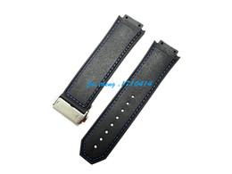 Acheter en ligne Regarder bracelet en caoutchouc noir-Nouveaux hommes 26mm de haute qualité Bleu Stitched noir en caoutchouc de silicone Montre BAND Strap boucle déployante Pour HUBWATCH