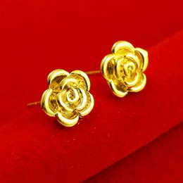 Don't rub off the gold plated 24K gold earrings earrings earpins bride wedding jewelry simulation gold female roses