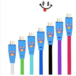 Wholesale 1M Cute LED Light Smile Face Micro USB Data Sync Charger Cable for samsung s4 s3 note for LG