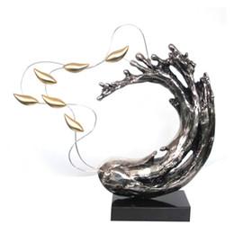 2017 artisanat villa Eau Flow Poisson Sculpture Artisanat Art Nouveau Statue Moderne Décoration Artisanat Sculpture en résine Fibre de verre pour Villa Décoration artisanat villa sur la vente