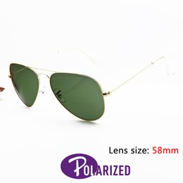 Wholesale 2016 Top Brand Pilot Polarized Sunglasses Design For Man Women Alloy Metal Gold Frame Green G15 Crystal Glass Lens mm Original Case Box