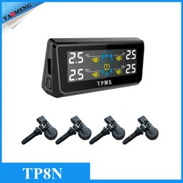 Wholesale Latest Car Solar Charge TPMS Tyre Pressure Monitoring System With Internal Sensors LCD Display Support Bar PSI on tires from Yaomeng