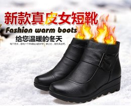 First layer of cowhide women shoes flat winter boots 2016 free shipping snow boots shoes women boots wedges genuine leather boots ankle boot