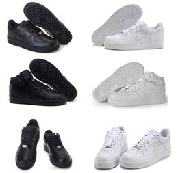 Wholesale 2016 air high quality force men women Sports sneakers Skateboarding Shoes Classical All White black Force one Running Shoes size