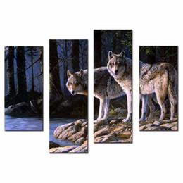 Wholesale 4 Picture Combination The Picture Home Decoration Two White Arctic Wolfs In The Woods In Winter Animal Wolf Print For Wall Decor