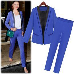 Wholesale Black turn down collor blue long sleeve blazer blue pants work uniform twinset for women
