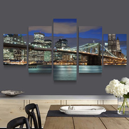 5p modern Home Furnishing HD picture Canvas Print art wall of the sitting room children room decoration theme -- San Francisco Bridge