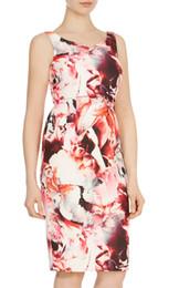 Flower Print Women Sheath Dress V-Neck Sleeveless Casual Dresses 074A677