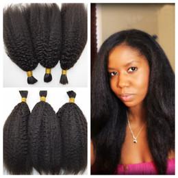 Wholesale Kinky Straight Human Hair Bulk For Braiding Natual Black Unprocessed Brazilian Braiding Hair inch DHL FREE