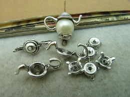 Wholesale 10Sets X21 X7mm Antique Silver Lovely Filigree Tea Pot Bead Caps c3056