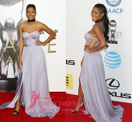 Wholesale KEKE PALMER PALE Lavender Sweetheart Prom Evening Dresses NAACP AWARDS RED CARPET A Line Split Chiffon Formal Party Gowns Custom Made