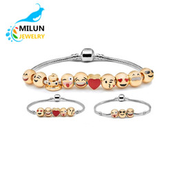 Wholesale In Stock Metal Emoji Beads DIY Charms Bracelet K Gold Plated Expression Bangle Jewelry Enamel Emoji Faces Bracelet