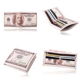 Wholesale New Arrival Men s World Currency Bill Wallet Bifold PU Leather Money Wallets Short Purse USD Dollar Pound Card Holder Children Kids Gifts