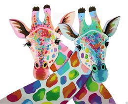 Framed colorfull giraffes, Pure Hand Painted contemporary WALL DECOR Art Oil Painting On Quality Canvas.Multi sizes Available moore2012