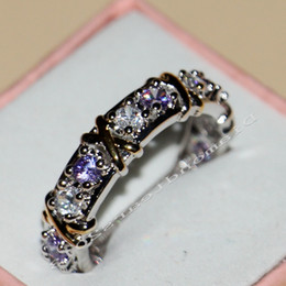 Wholesale Size New Hot Jewelry color sterling silver Amethyst topaz CZ Diamond Wedding Engagement Band RINGS For Women LOVE GIFT