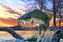 2016 Free Shipping Bass Fishing Lake Sunset Painting Poster Art Silk Fabric Home Decoration abstract canvas art