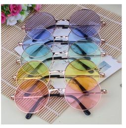 Compra Online Gafas de sol de color rosa-Gafas de sol redondas del sol de la lente del color del marco del color de Eyewear de los vidrios del diseñador de los hombres del womem de las gafas de sol del metal de la lente japonesa del color 20pcs / lot