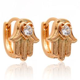 Wholesale Good Luck Protection Hamsa Symbol Fatima Hand Crystal Huggie Hoop Earrings K Yellow Gold Plated Gilrs Kids Baby Child Jewelry