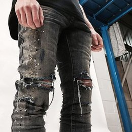 hi Street men Ink ripped distressed destroyed Skinny jeans streetwear fashion swag Hip Hop Motorcycle Biker Jeans Denim Pants