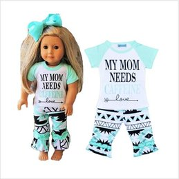 2016 Girls Letter print 2pcs Set Baby Girl Boy spring autum MY MOM NEEDS CAFFE Clothes Short Sleeve T-shirt+Ruffle Pants Outfits